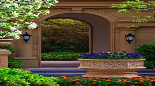 借鉴下沉广场,艺术喷泉等欧式园林元素,将西方园林的仪式感与东方园林